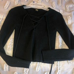 Forever 21 black tie up front sweater